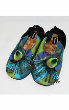 """NEW Goody Goody Bon Bon comfy Silk Slippers """"Peacock"""" Women's SIZE Small - Large"""