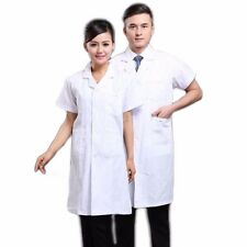 New Mens Womens Professional Medical Doctor Short Sleeve White Lab Coat Scrub