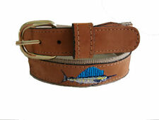 Zep-Pro Mens Embroidered Leather Canvas Fishing Belt SAILFISH NWT pic your size