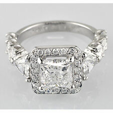 Diamond Engagement Ring EGL 3.63 Carat Princess Round and Radiant Cut Halo set