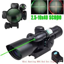 Tactical 2.5-10X40 Rifle Scope With Green Laser &Mini Reflex 3 MOA Red Dot Sight
