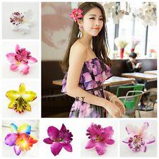 2Pcs Colorful Orchid Flower Hair Clip Bridal Wedding Barrette Girl's Accessories