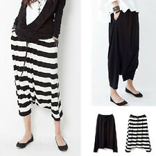 Women Stripe Punk Style Low Drop Crotch Baggy Loose Harem Trousers Pants Dancer