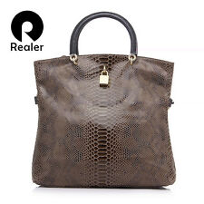 GENUINE LEATHER BAGS FEMALE FASHION SNAKE PATTERN TOTE BAG TOP HANDBAG RHNWB0829