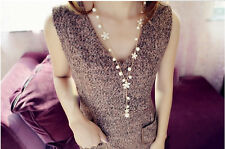 Fashion Women Faux Pearl Flower Sweater Chain Long Pendant Necklace New Jewelry