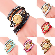 Trendy Women's Leopard Faux Leather Analog Wrap Braided Bracelet Wrist Watch