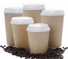 Insulated Ripple Kraft Disposable Paper Coffee Cups White lids from 4 up to 20oz