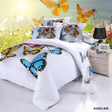 Butterfly King/Queen/Double Size Bed Quilt/Doona/Duvet Cover Set New 100% Cotton