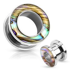 Stainless Steel Screw Flesh Tunnel Pearl Plug Tube Ear Piercing Studs Earlet