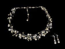 PEARL & CRYSTAL NECKLACE & EARRING SET, CHOICE OF WHITE or IVORY COLOURS, AUST.