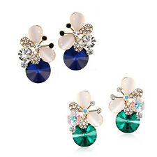 1 pair Stud Earrings Women Jewelry Rhinestone Butterfly Elegant Charm Asymmetric