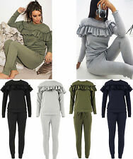 WOMENS LADIES LOUNGEWEAR 2 PIECE SET FRILL DETAIL RUFFLE TOP TRACKSUIT JOGGERS