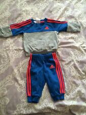 Baby Boys blue and grey ADIDAS tracksuit Jumper pants trousers Size 0-3 months