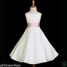IVORY/PINK A-LINE PAGEANT WEDDING FLOWER GIRL DRESS 12-18M 2 4 5/6 8 10 12 14 16