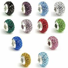 925 Sterling Silver Birthstone Round CZ Crystal Bead for European Charm Bracelet