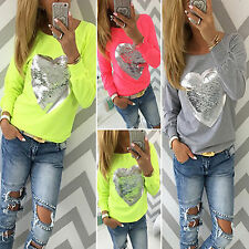 Womens Ladies Long Sleeve Sequins T-Shirt Top Casual Loose Crew Neck Blouse Hot