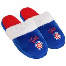 Chicago Cubs Womens Colorblock Fur Slide Slippers MLB New Style
