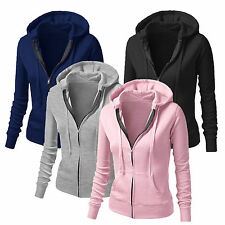 Ladies Women Plain Hoodie Fleece Sweatshirt Hooded Coat Hoodys Zipper Jacket Hot