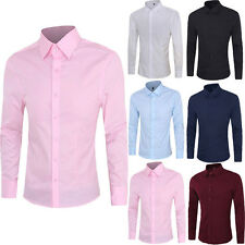 Fashion Mens Long Sleeve Slim Fit T Shirt Pure Color Casual Dress Shirts Tops 0