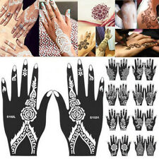 10Styles Black Henna Temporary Tattoo Stencils Girl Hand Template Body Art Decal