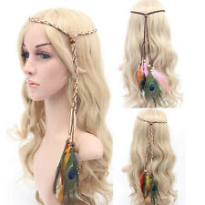 Vintage Rope Knitted Hairband Bohemian Hippie Headband Peacock Feather Headwrap