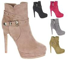 LADIES HIGH HEEL FAUX SUEDE BUCKLE STRAP ZIP DRESSY ANKLE BOOTS SIZE 3-8