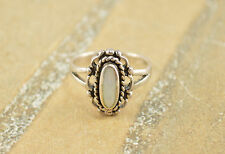 Mother of Pearl Inlay Rope Trim Wavy Filigree Modern Ring Size 7 Sterling Silver