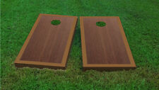 Premium Light Brown Border Rosewood Stained Cornhole Board Game Set