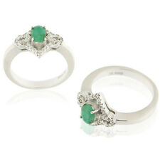 Natural Genuine Oval Cut Emerald White CZ 925 Sterling Silver Women's Ring FS