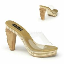 Pin Up Couture TIKI-100 Platform Slide With Carved Tiki Heel Brown/Clear
