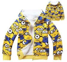 Winter Minions Hoodie Despicable Me Kids Boys Girls Thick Warm Zipper Fur Coats