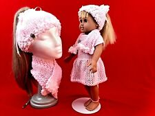 """Handmade 18"""" Doll Outfit & Girl's Knit Ponytail Hat & Scarf Set, Slouchy Beret"""