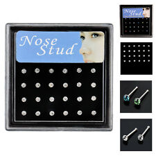 24x Chic Rhinestone Nose Ring Body Piercing Jewelry Crystal Nose Stud Steel Bone