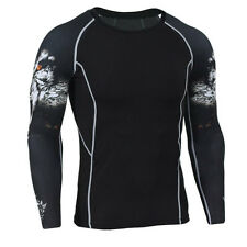 Mens Compression Base Layer Fitness Long Shirts Suit MMA Tops Skin Tights Wolf