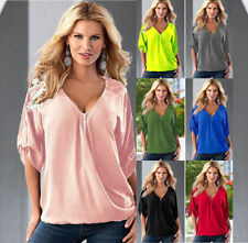 Plus Size Summer Women's Loose Casual 3/4 Sleeve Plain T-Shirt Blouse Tee Top
