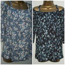 New Ladies Plus Size Grey Floral Print Cold Shoulder Jersey Tunic Top 8 - 24