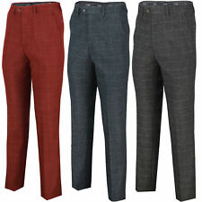 Mens Vintage Large Check Tweed Herringbone Slim Fit Trousers Smart Formal Pant
