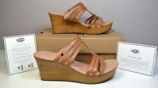 NIB UGG AUSTRALIA MATTIE SUNTAN LEATHER WEDGE SLIP ON SANDALS SHOE SZ 10