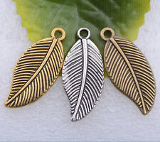 Wholesale 5pcs/10pcs/50pcs tibet silver gold bronze leaf charms pendant 28x12m