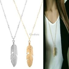 Women Feather Pendant Long Chain Necklace Sweater Statement Vintage Jewelry CO99