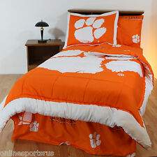 Clemson Tigers Bed in a Bag & Valance Twin Full or King Size Comforter Set CC
