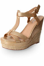 Womens Gold T-Bar Sandal Espadrille Wedges Ankle Strap Caged Slingback Flats