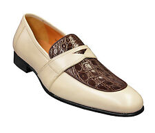 Mezlan Crocodile Chocolate Brown / Cream Beige Moc Toe Round Penny Loafer Shoes