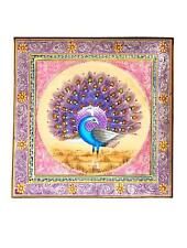 Peacock Bird Painting Handmade Indian Miniature Silk Watercolor Ethnic Folk Art