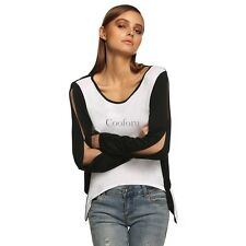 Sexy Women Long Sleeve Patchwork Asymmetric Hem Back Cut Out Blouse Tops CO99