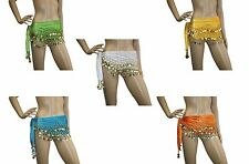 Belly Dance Costume Velvet Hip Scarf Wrap Belt Sash Skirt GOLD or SILVER Coins