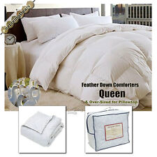 100% White Goose Feather Down Comforters 95/5 Bedding Bed Comforter, Queen Size