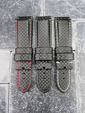 24mm Carbon Fiber Leather Band Deployment Watch Strap PANERAI Small Short S Size