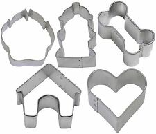 5 Piece Mini Dog Treat Cookie Cutter Set Bone Paw