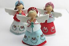 Gisela Graham Christmas Resin Felt Fabric Vintage Fairy Angel Decoration